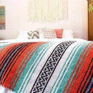 Boho Mexican Blanket Rip Tide Orange Aqua